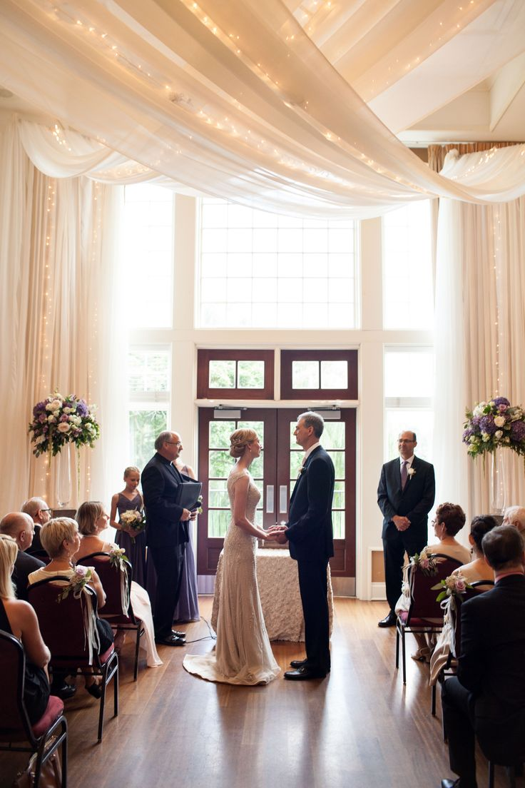 Beautiful Ceremony Ceiling Draping & Fairy Lights
