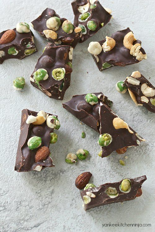 Sweet, savory, spicy: easy wasabi pea chocolate bark  | yankeekitchenninja.com