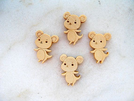 Wooden  Cute Mickey Mouse Buttons Children Buttons by nezoshop, $2.90