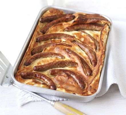 Toad in the hole  Use a good quality sausage or even try the sausage with leek or herbs for a different taste.  A great classic winter dish.