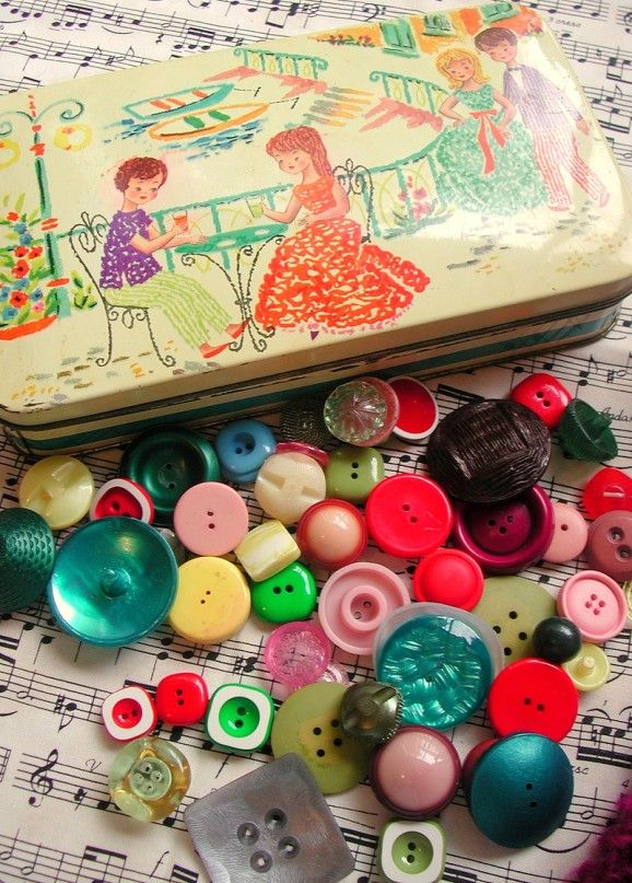 Buttons -- colorful! vintage! love the little tin box!