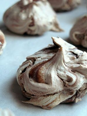 Nutella Meringues - These turned out perfect and they are absolutely yummy, I also drizzled them with some semi-sweet chocolate and then crushed ferrero rocher candies and sprinkled those on top
