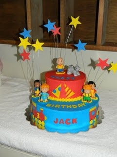 Caillou cake! Kaitlyn loves Caillou and something like this would be great