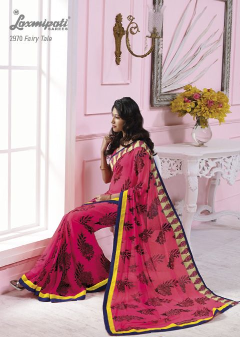 This dark pink georgette material saree with yellow & blue color border & with flowers prints.