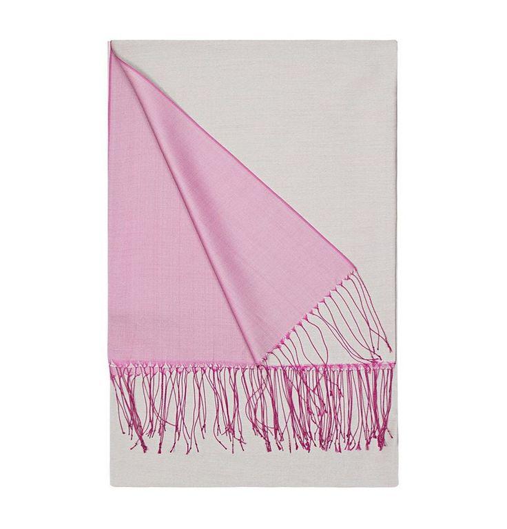Aker Double-Sided Silk Shawl #397 Pink / Gray