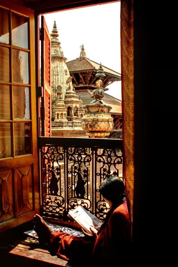 Bhaktapur, Nepal  A girl reading in National Art Gallery (by Pawel A K)  (via neutrinoid)