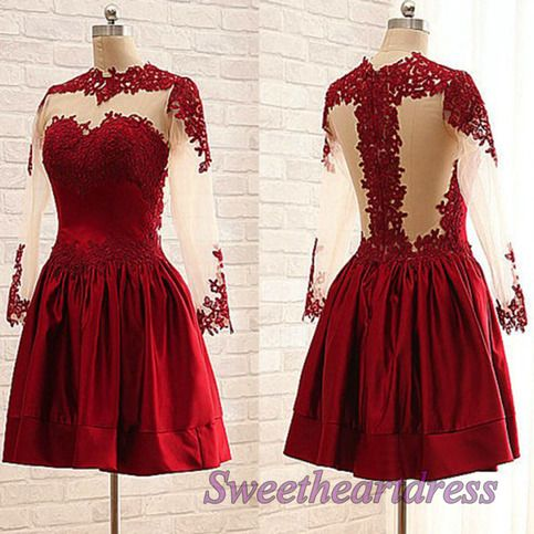 Vintage prom dress, ball gown, cute red satin short prom dress with sleeves