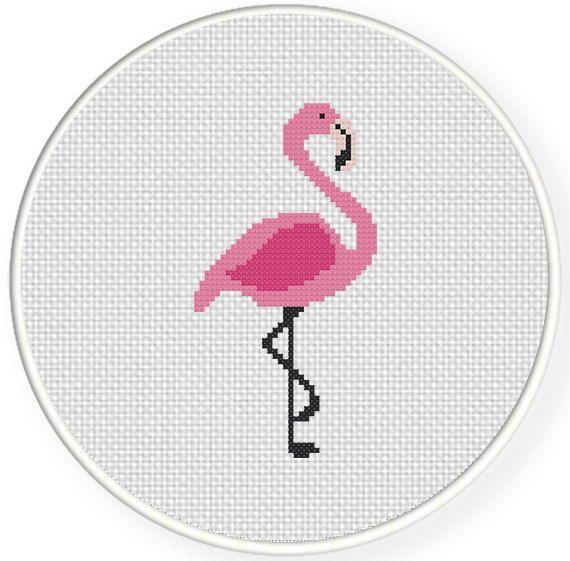 SALE Easy Stitch Pink Flamingo PDF Cross by DailyCrossStitch