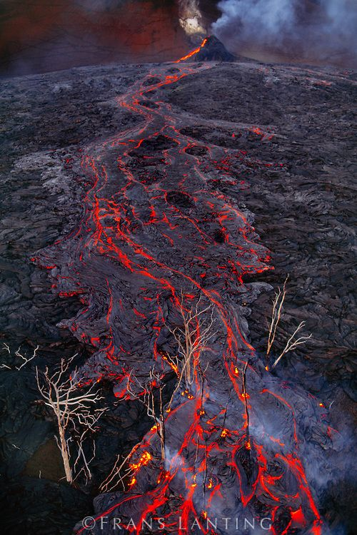 Lava flow near Pu'u 'O'o creater (aerial), Hawaii Volcanoes National Park, Hawaii