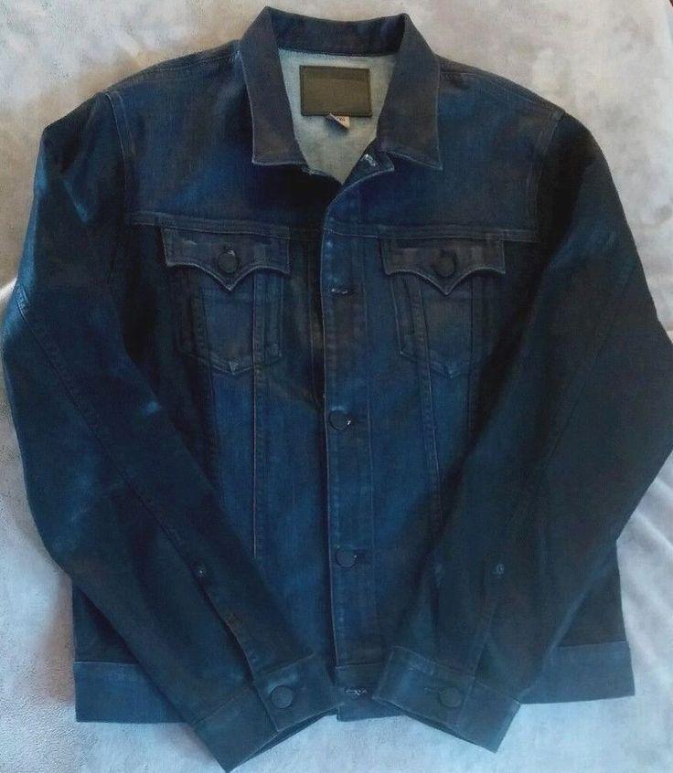 True Religion NEW Mens Denim Jacket Moto Coated Blue Black XL NWT Danny Slim  #TrueReligion #JeanJacket