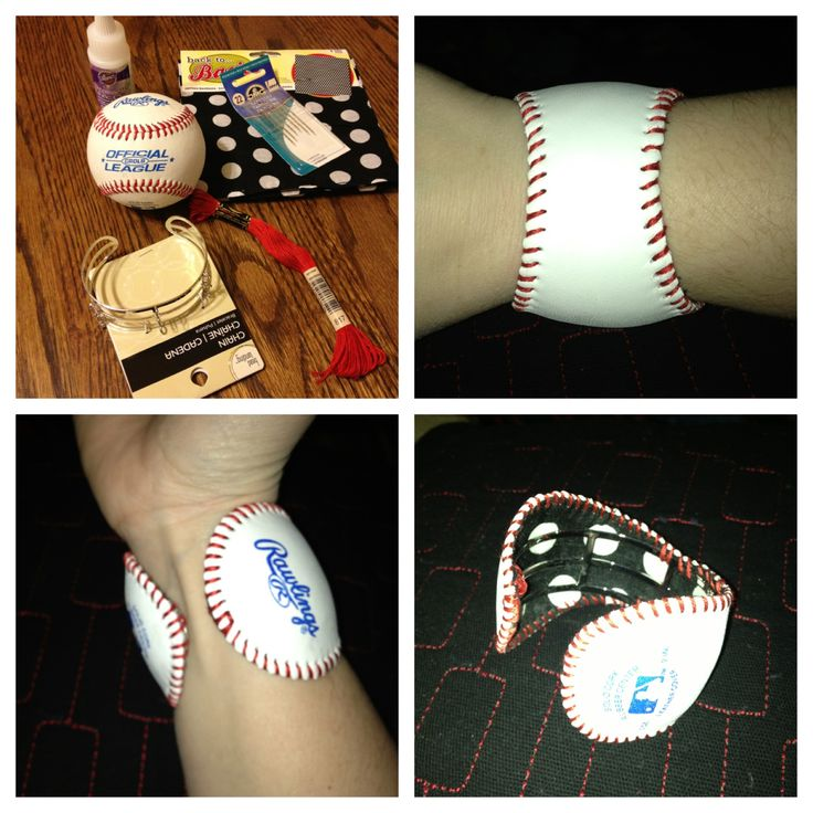 Baseball cuff bracelet - put fabric on the back side of the cuff frame to keep from irritating the arm.