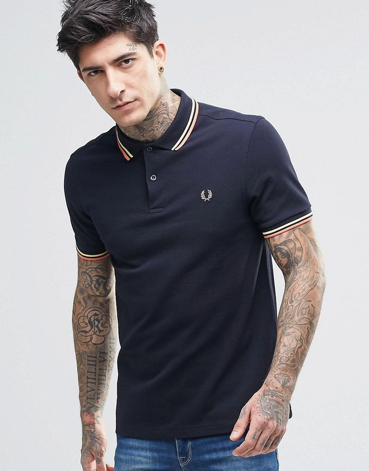 $94 Fred Perry Polo Shirt With Twin Tip Slim Fit In Navy
