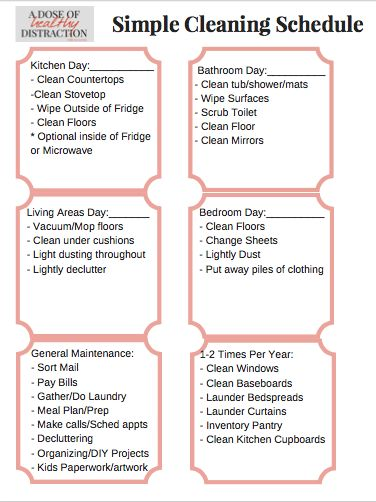 House Cleaning Schedule House Cleaning Schedule Checklist With