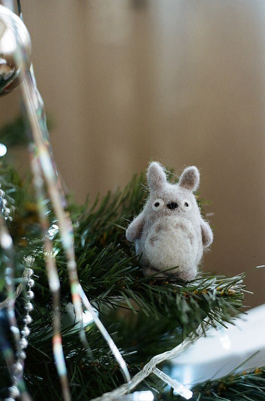 Totoro christmas tree felt felting wool film photography Nikon f80