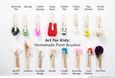 Art Ideas for Kids . Más pinceles caseros