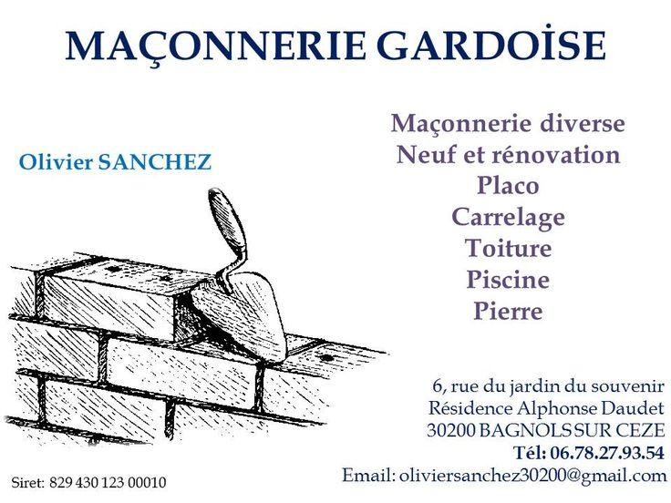 Entreprise de maçonnerie nouvellement installée à Bagnols sur Cèze , depuis mai 2017; Travailleur indépendant, avec plus de vingt ans d'ancienneté dans différentes entreprises en France et en Espagne  .
