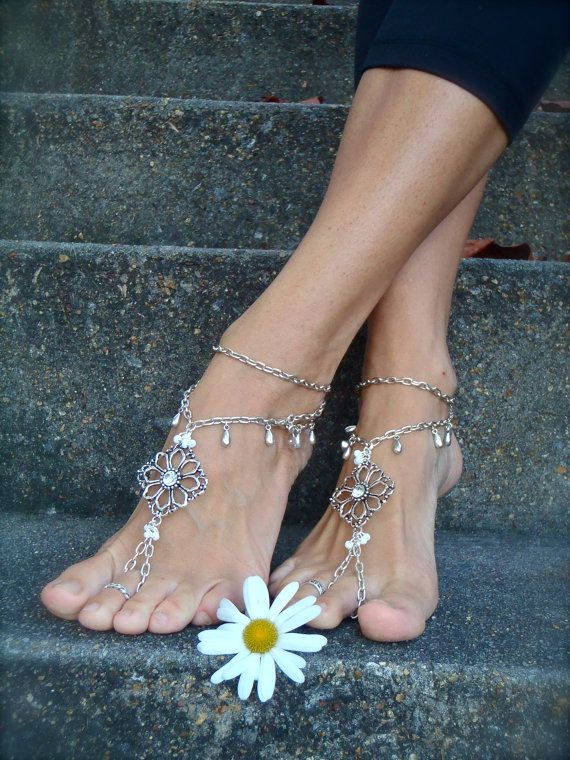 Silver WEDDING BAREFOOT SANDALS Chain sandals bridal foot jewelry chain anklets foot jewelry beach wedding Barefoot Wedding. via Etsy.