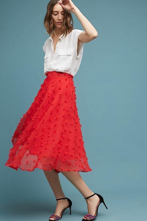 NWT Anthropologie Marlow Rosette Red Floral Tulle Overlay Full A-Line Midi  Skirt 04ee4007f