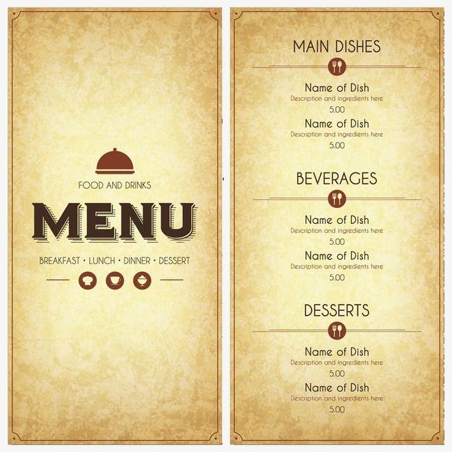 Vintage Menu Design Vector Png And Vector Restaurant Menu Covers Menu Restaurant Restaurant Menu Design