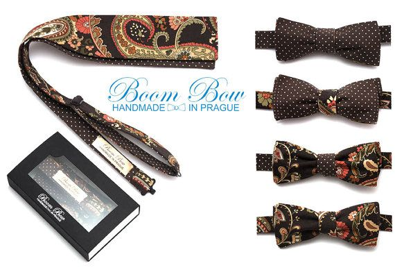 Mens BowTie Serie Charm Braun paisley bow tie Polka dot Straight Reverse Side 100% cotton men's selftied Bow Tie 4-in-1 Free Shipping