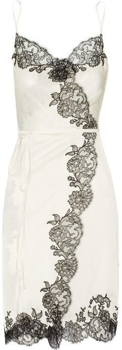 Carine Gilson Sonia lace-trimmed silk-satin wrap chemise