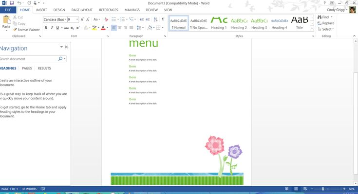 Free Printable MS Office Templates for Mother's Day: Mother's Day Menu Template or Printable for Microsoft Word