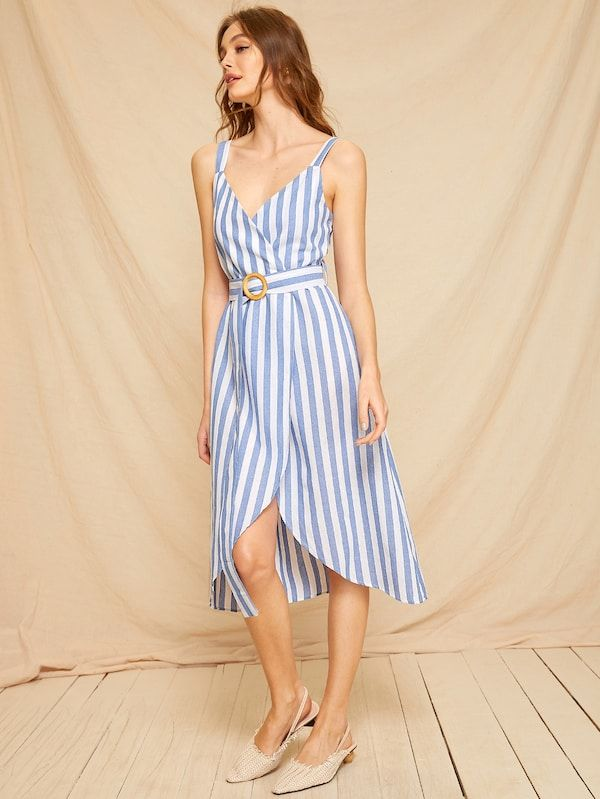 2bf00c98bfc66 Striped Wrap Self Tie Cami Dress in 2019 |