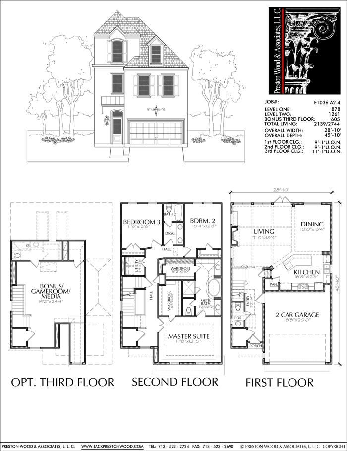 2 1 2 Story Townhouse Plan E1036 A2 4 Town House Floor Plan Beach House Floor Plans Apartment Floor Plans