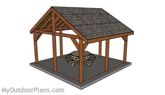 16x16 Outdoor Pavilion Plans | MyOutdoorPlans | Free Woodworking Plans and Projects, DIY Shed, Wooden Playhouse, Pergola, Bbq