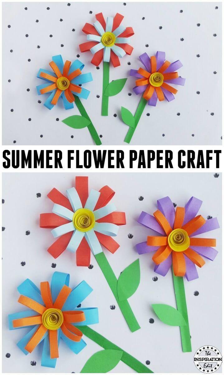 Kids Summer Paper Flower Craft Flower Crafts Kids Paper Crafts