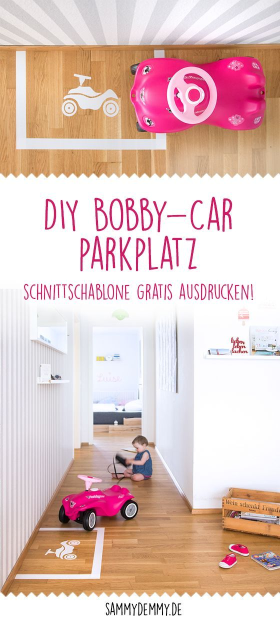 Funny DIY idea for children: Bobby-car parking lot for tinkering