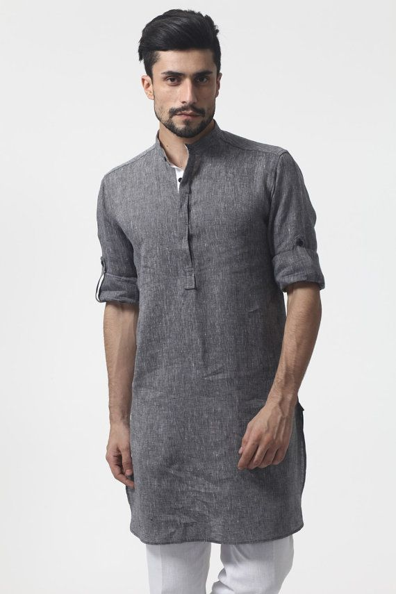 Roll Up Sleeve Linen Nehru/ chinese collor Kurta chambray collection on Etsy, $55.00