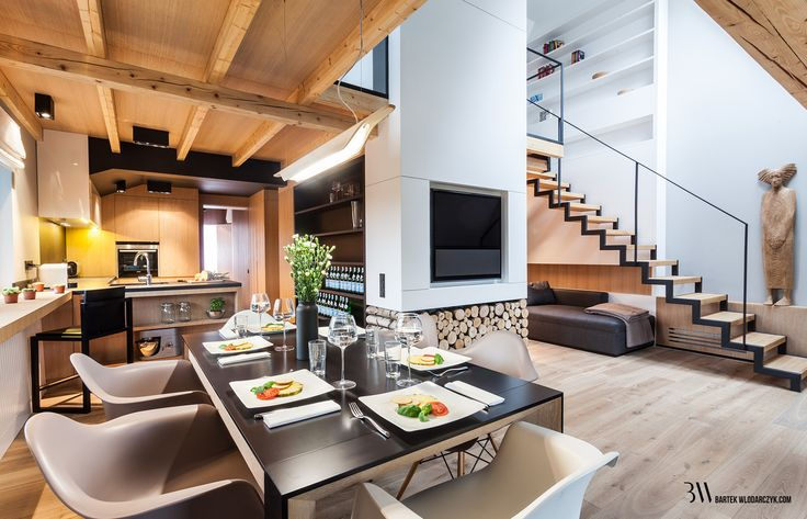 Nowoczesne wnętrze domu z użyciem sprzętów Bang & Olufsen oraz krzeseł Eames Daw. www.bartekwlodarczyk.com