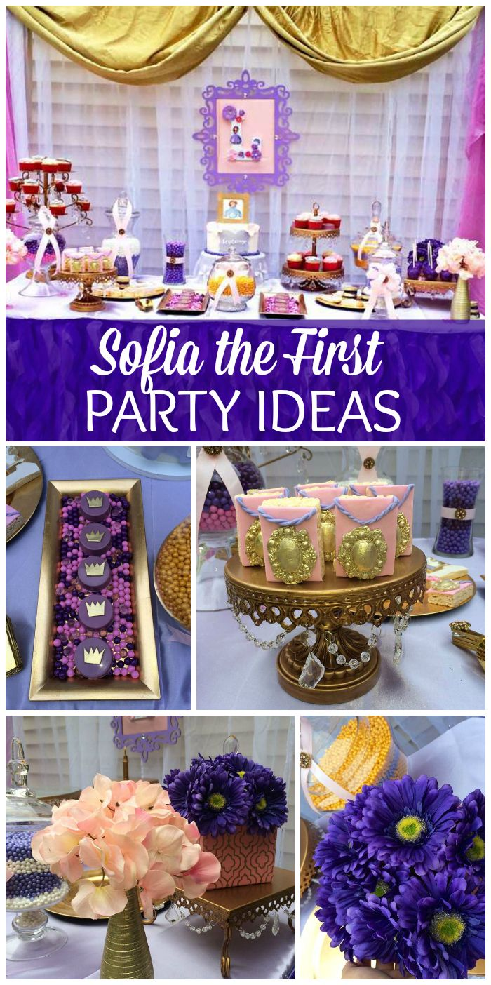 A gorgeous gold and purple Sofia the First girl birthday party with themed cookies and party decorations!  See more party planning ideas at CatchMyParty.com!