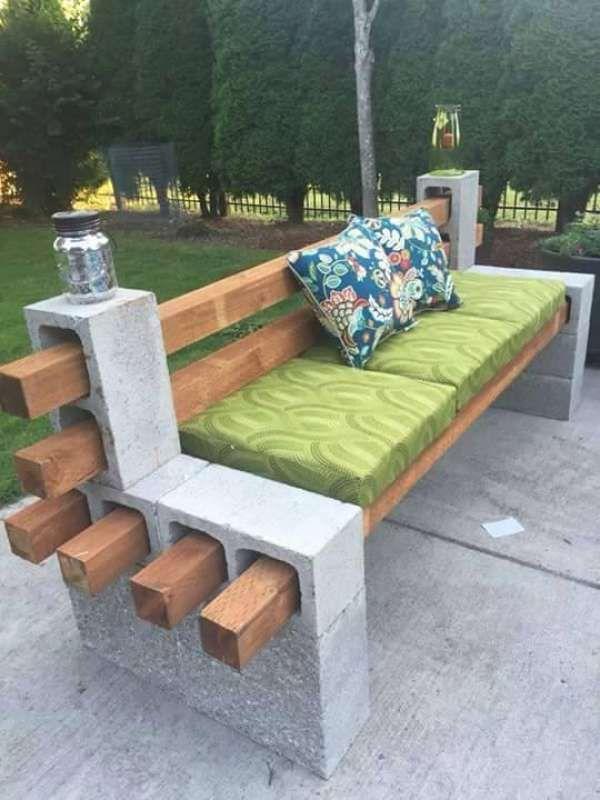 Banc de jardin DIY.  14 idées innovantes avec des blocs de béton