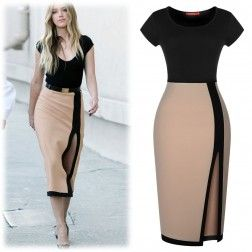 Women's Optical Illusion Contrast Bodycon Split Side Calf Party Evening Dress - Black & Beige