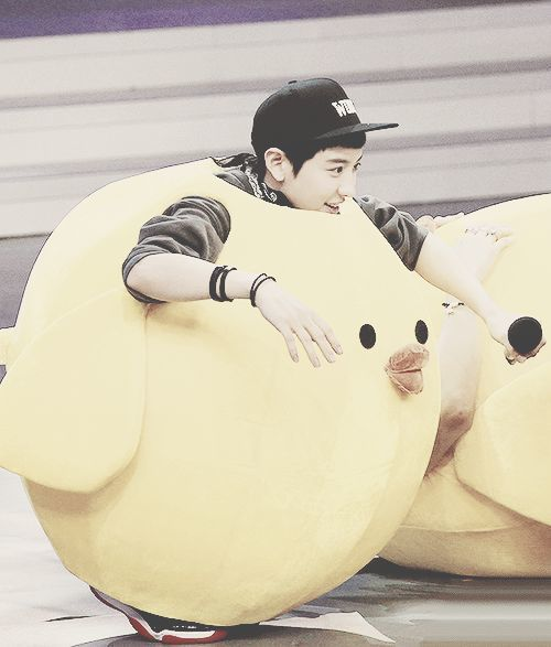 EXO-K/M..AWWEEE HE'S SO CUTE WITH A LITTLE CHICK COSTUME ♥ HAHAHA