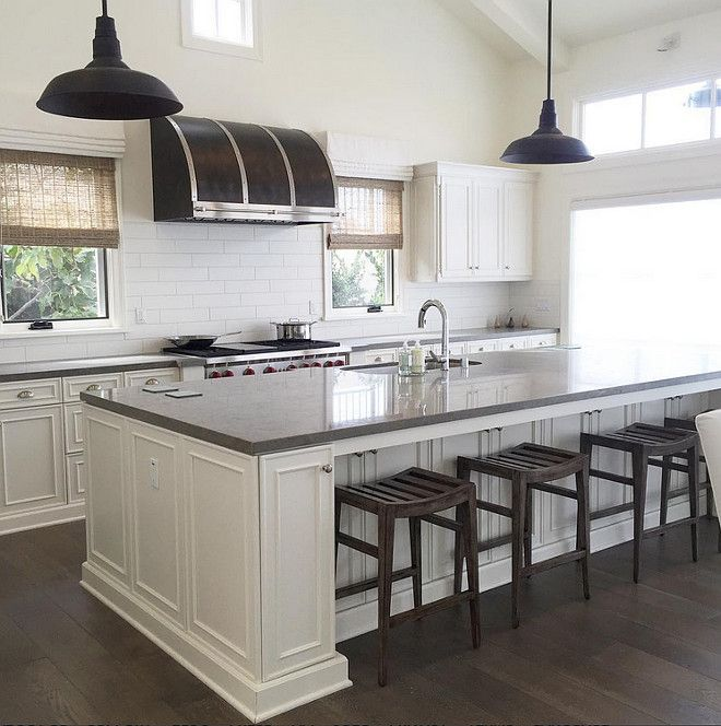 Gray Quartz Top Kitchen Island With Black Vintage Barn Pendants,  Transitional, Kitchen