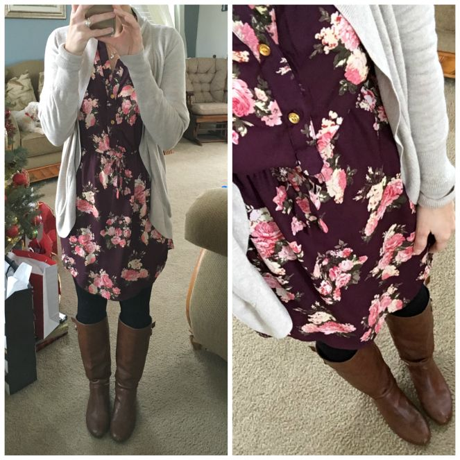 Dress is perfect. Love to wear leggings under a dress like this to teach in with a cardigan over it.