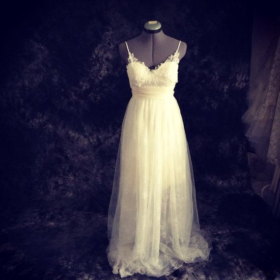The Destiny Wedding gown-skinny straps backless lace tulle wedding dress-made to order in DC (Ting Bridal on Etsy) - $1050