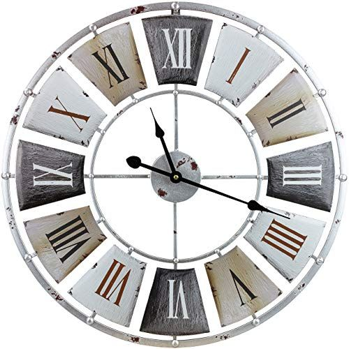 Sorbus Large Decorative Wall Clock Centurion Roman Numeral Hands Vintage Industrial Rustic Farmhouse Style Modern Home Lavorist In 2020 Large Wall Clock Decor Clock Wall Decor Rustic Farmhouse Style