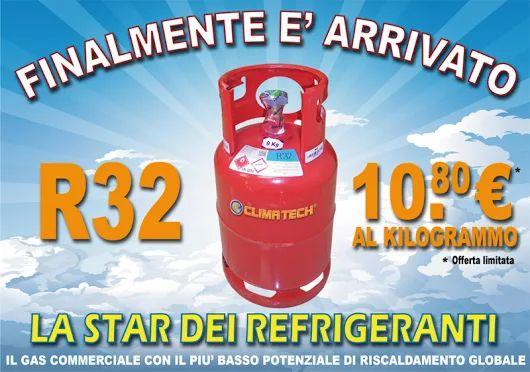E' disponibile presso i ns magazzini il nuovo gas refrigerante R32 veramente ecologico con un bassissimo GWP (potenziale di riscaldamento globale) già largamente utilizzato dalle migliori marche di Climatizzatori. In offerta a 10,80€ sul ns e-commerce http://www.ingrossoclima.it/offerte-gas.asp