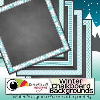 Winter Chalkboard Backgrounds contains 5 square sized backgrounds with a chalkboard finish and a Winter frame. These Winter Chalkboard Backgrounds will be perfect for your product covers, classroom posters, signs etc. The frame is already on the background, so easily add your text and clip art for a professional finish.