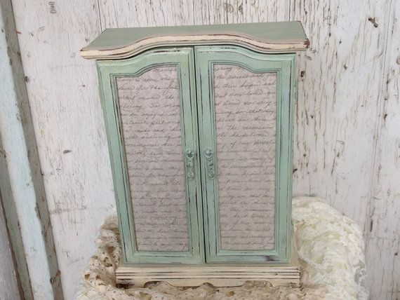 Upcycled Mint Green and Ivory Jewelry Box Painted Jewelry Vintage Script Armoire on Etsy, $80.00