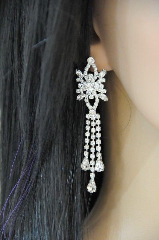 kolczyki z kryształkami do sukienki ślubnej lub wieczorowej, długie na ok. 7 cm