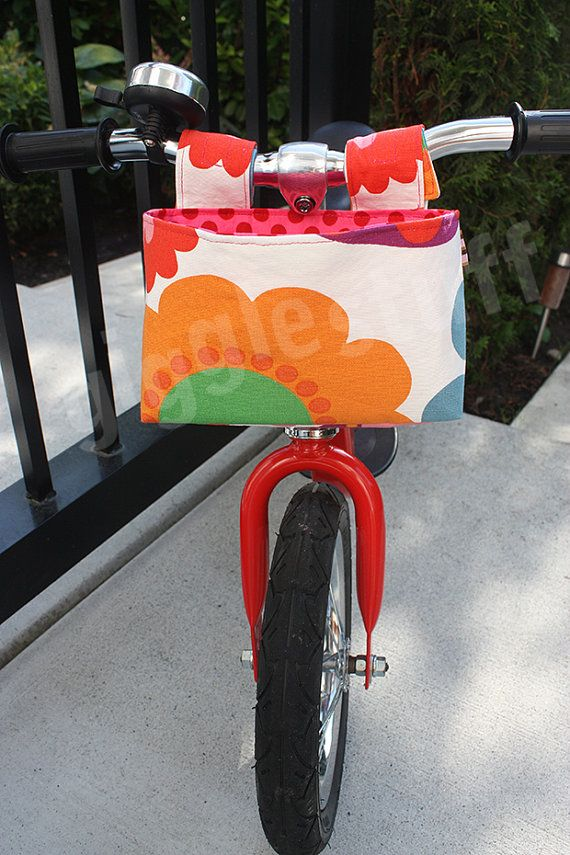 Girls Colorful Flower Bike Bag, Kids Handlebar Basket, Bag for Balance Bike, Scooter, Fabric Bucket -- READY TO SHIP
