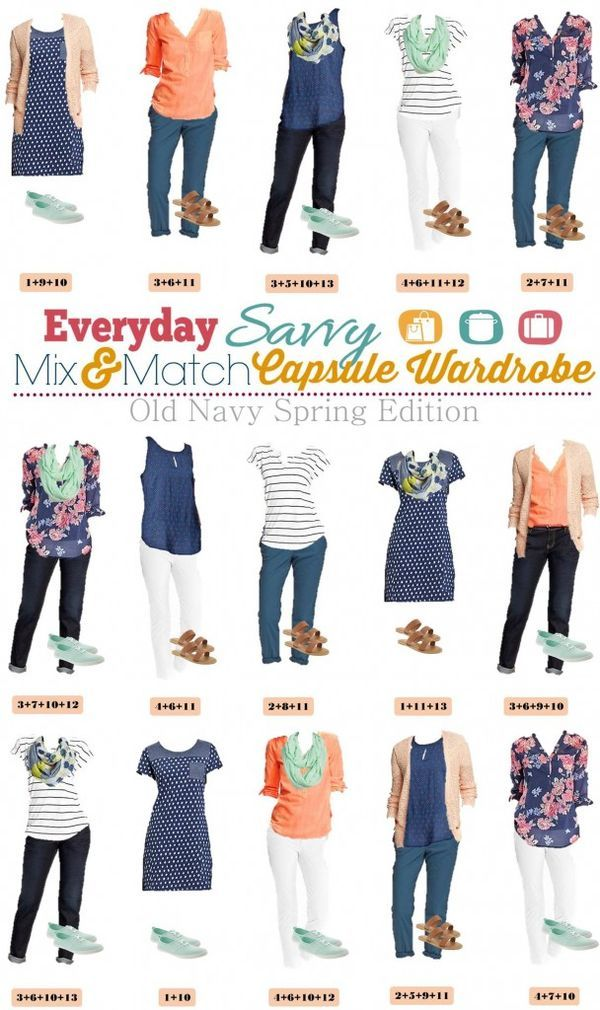 Old Navy Spring Capsule Wardrobe with Mix & Match outfits with pattern and color. Floral, Stripes and more!