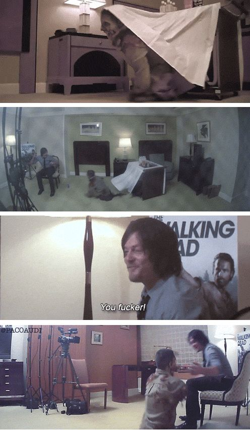 """Norman Reedus gets scared by a real life """"zombie"""". Hilarious! SO FUNNY AND NICE THAT HE HUGS THE GUY"""