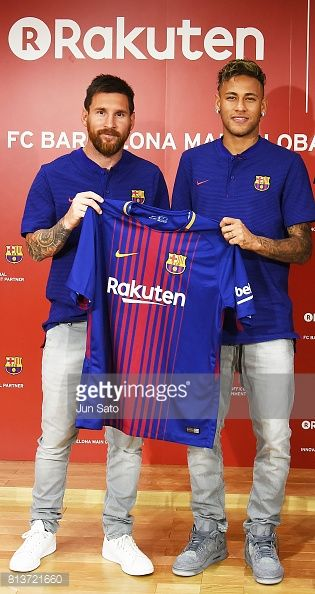 Lionel Messi and Neymar Jr attend the press conference for Rakuten - FC Barcelona Global Partnership Launch on July 13, 2017 in Tokyo, Japan.