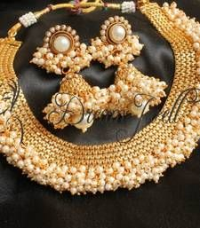 Order now online at, http://www.mirraw.com/designers/dreamjwell/designs/gorgeous-antique-pearl-cluster-beautiful-necklace-set-south-indian-jewellery